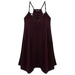 Miss Selfridge - Burgundy lace up cami