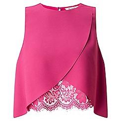 Miss Selfridge - Pink lace insert shell