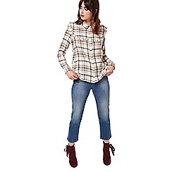 Miss Selfridge - Check ruffle bib shirt