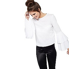 Miss Selfridge - Poplin flute sleeve blouse