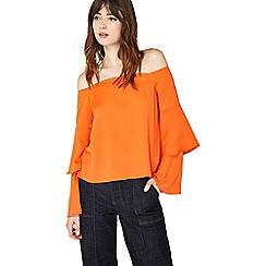 Miss Selfridge - Orange double sleeve bardot top