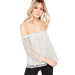 Miss Selfridge - Long sleeves black and white lace bardot top