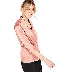Miss Selfridge - Pink wrap front satin blouse