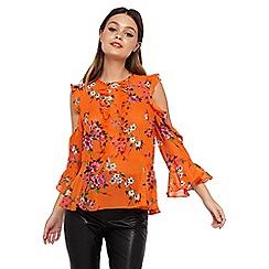 Miss Selfridge - Orange frill cold shoulder top