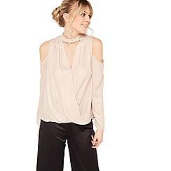 Miss Selfridge - Nude choker wrap blouse