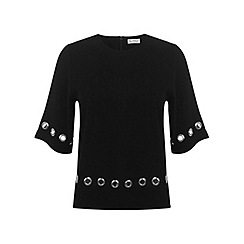 Miss Selfridge - Black eyelet hem tee