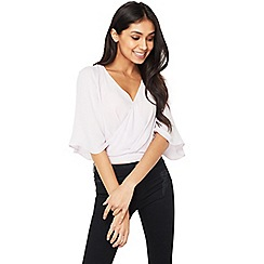 Miss Selfridge - Angel sleeves wrap crop top