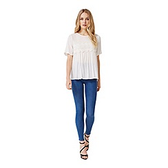 Miss Selfridge - Ivory lace overlay tee