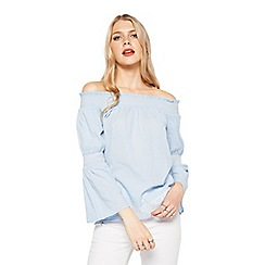 Miss Selfridge - Light blue shard bardot top