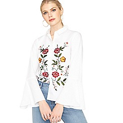 Miss Selfridge - White pop embroided fluted shirt