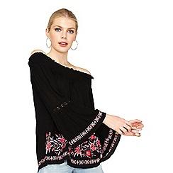 Miss Selfridge - Black border embroided bardot top