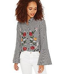 Miss Selfridge - Gingham fluted sleeves shirt