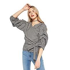 Miss Selfridge - Gingham puff wrap blouse