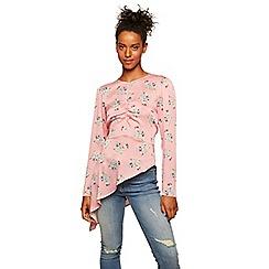 Miss Selfridge - Pink floral asymmetric blouse