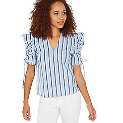 Miss Selfridge - Stripes mutton sleeves top