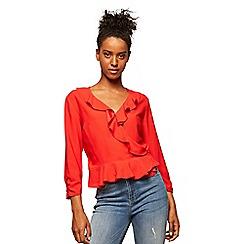 Miss Selfridge - Red wrap ruffle blouse