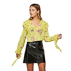 Miss Selfridge - Chartreuse floral mix ruffle blouse