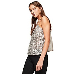 Miss Selfridge - Silver multi bead camisole