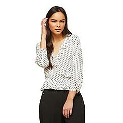 Miss Selfridge - Ivory spot ruffle wrap blouse