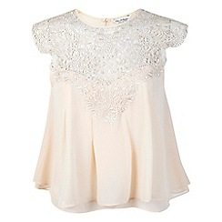 Miss Selfridge - Nude lace trim trapeze top