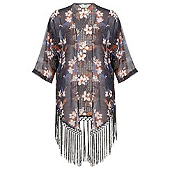 Miss Selfridge - Fringe floral kimono