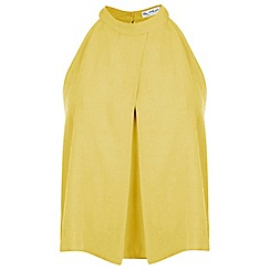 Miss Selfridge - Yellow polo halter crop