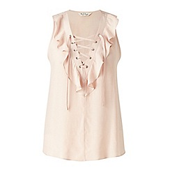 Miss Selfridge - Nude lace up ruffle shell