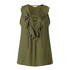 Miss Selfridge - Khaki ruffle lace up shell