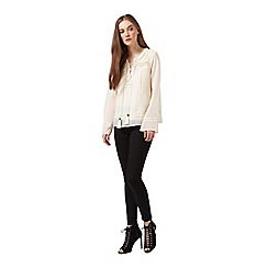 Miss Selfridge - Dobby lace up blouse