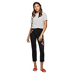 Miss Selfridge - Black rose embroided mom jeans
