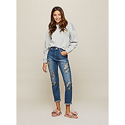 Miss Selfridge - Rip and embellished mom jeans