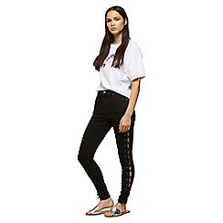 Miss Selfridge - Black lace side lizzie jeans