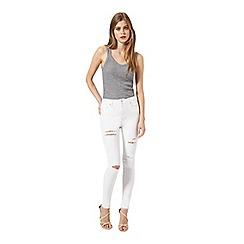 Miss Selfridge - Lizzie white multi rip jean