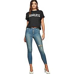 Miss Selfridge - Blue cast button lizzie jeans