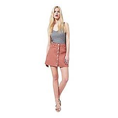 Miss Selfridge - Dark pink button skirt