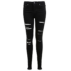 Miss Selfridge - Lizzie black shredded jean