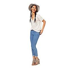 Miss Selfridge - Sofia blue long crop jean