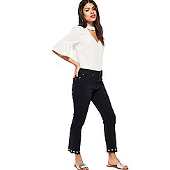 Miss Selfridge - Black eyelet straight leg jeans