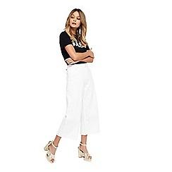 Miss Selfridge - White wide crop jeans