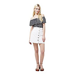 Miss Selfridge - White patch pocket denim skirt