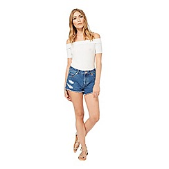 Miss Selfridge - Mid wash distressed short