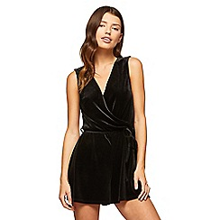Miss Selfridge - Black velvet playsuit