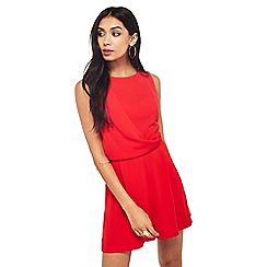 Miss Selfridge - Red drape playsuit