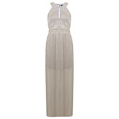 Miss Selfridge - Gold pleated lurex maxi dress