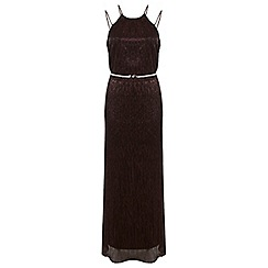 Miss Selfridge - Bronze plisse maxi dress