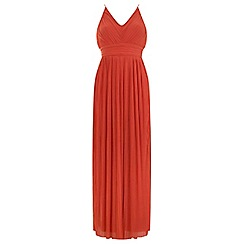 Miss Selfridge - Orange pleated maxi dress