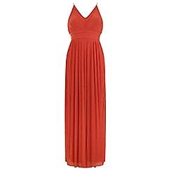 Miss Selfridge - Orange pleated maxi dress