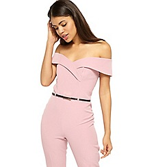 Miss Selfridge - Pink bardot belt jumpsuit