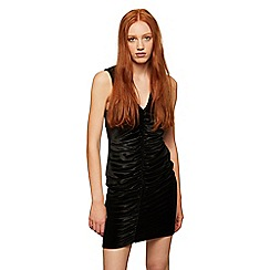 Miss Selfridge - Black velvet ruched dress