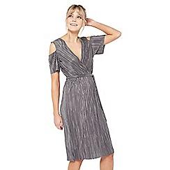 Miss Selfridge - Silver plisse cold shoulder dress